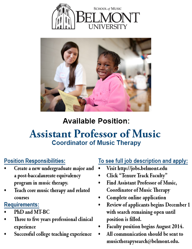 Music Therapy Assistant Professor Position